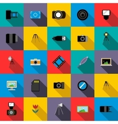 Photo studio equipment icons set flat style vector