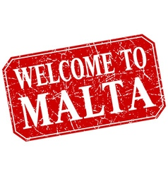 Welcome to malta red square grunge stamp vector
