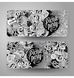 Cartoon picnic doodle vertical banners vector