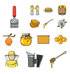 Apiary and beekeeping cartoon icons in set vector