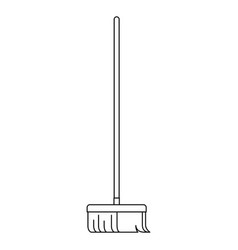 broom with wooden stick in monochrome silhouette vector image