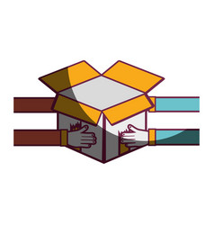 Delivery man hands in the open box vector