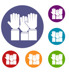 different people hands raised up icons set vector image vector image