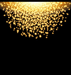 Falling glow gold particles on black background vector