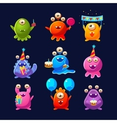 Fantastic aliens with birthday party objects vector