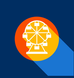 Ferris wheel sign white icon on tangelo vector