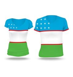 Flag shirt design of uzbekistan vector