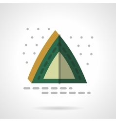 Green camping tent flat color design icon vector image