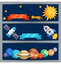 Horizontal banners with solar system and planets vector