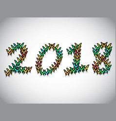inscription 2018 consisting of multi-colored vector image vector image