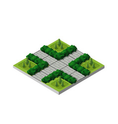 Isometric buildings city park vector