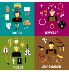 Jeweler shoemaker artist and priest professions vector
