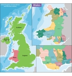 Map of Wales vector image