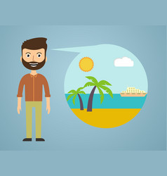 Men dreaming about his vacation vector