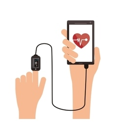 Modern cellphone with heartrate monitor icon vector
