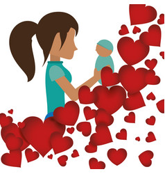 Mom holding her baby with heart decoration vector
