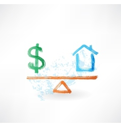 Money house balance grunge icon vector