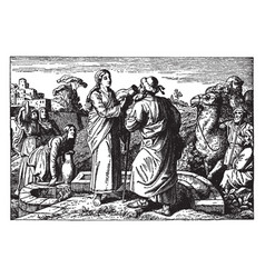 Rebecca offers water to eliezer at the well and vector