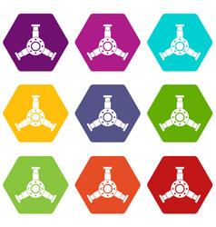 Round mechanic detail icon set color hexahedron vector