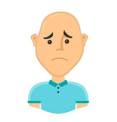 sad bald man without hair vector image