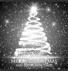 Shining christmas tree on monochrome vector