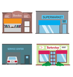 shops and stores icons set in flat design style vector image