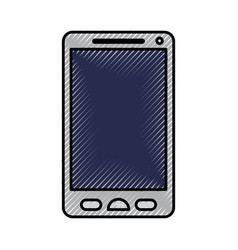 silhouette of colored pencils of smartphone icon vector image vector image