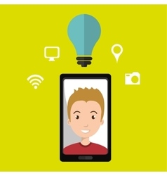 Smart phone and man isolated icon design vector image