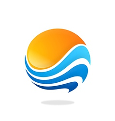 sphere round wave water sun abstract logo vector image vector image