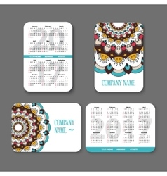 template national design pocket calendar 2017 with vector image