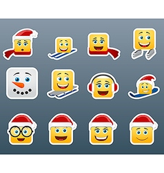 Winter smile stickers set vector image vector image