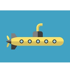 Yellow submarine flat style vector image