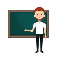 Young man teacher character with greenboard vector