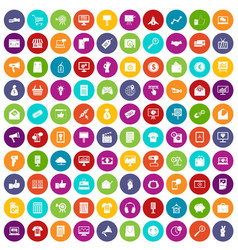 100 internet marketing icons set color vector