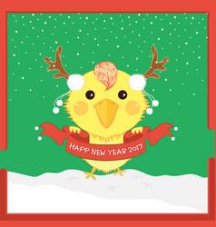 Cartoon christmas chicken antler happy new year vector