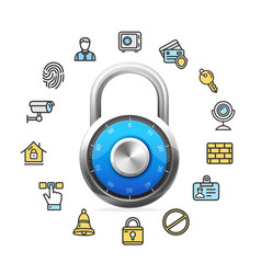 Data security concept and blue combination padlock vector
