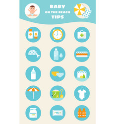 Baby on beach tips children sun and water safety vector