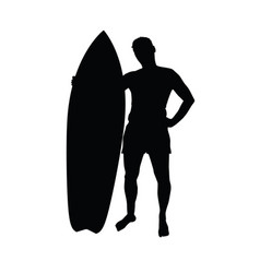 Man silhouette with surfboard leisure vector