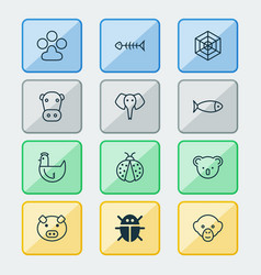 Zoology icons set collection of hen cobweb vector