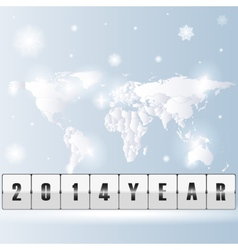 new year world map with snowflakes vector image