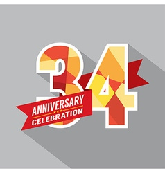 34th Years Anniversary Celebration Design vector image