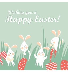 Easter bunnies and easter eggs vector