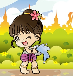 Songkran Thai new year and water festival vector image