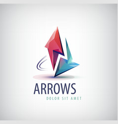 3d colorful shiny crystal 2 arrows logo vector image