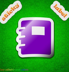 Book icon sign symbol chic colored sticky label on vector
