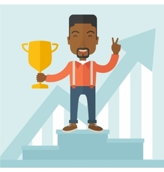 African businessman on winning podium vector