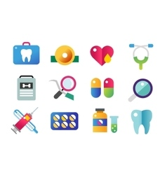 Medicine icons set doctors tools for vector