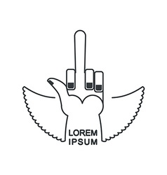Tattoo fuck logo linear emblem hand with a finger vector