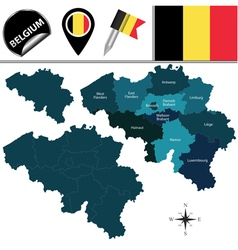 Belgium map with named divisions vector