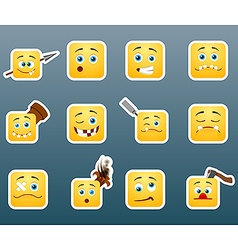 Wounded smile stickers set vector